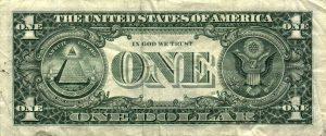 Il retro della banconota da 1 dollaro, coi presunti simboli della massoneria