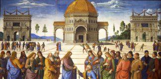 La consegna delle chiavi di Cristo a San Pietro, simbolo della nascita della Chiesa e dell'incarico al primo dell'elenco dei papi dell'antichità