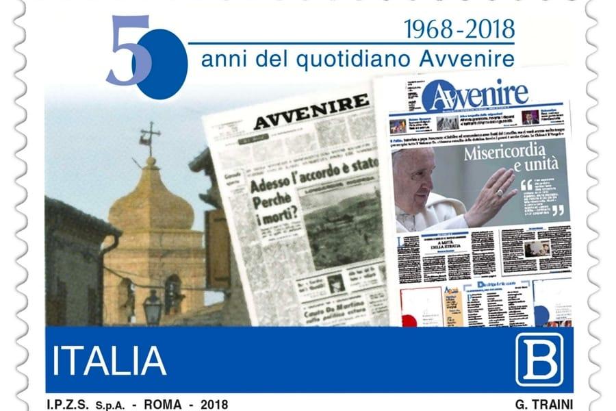 Il francobollo celebrativo per i 50 anni di Avvenire