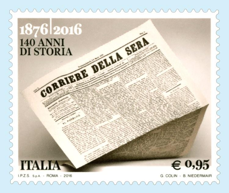 Il francobollo commemorativo per i 140 anni del Corriere della Sera, il primo tra i quotidiani italiani più venduti