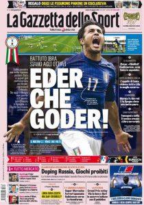 Una prima pagina de La Gazzetta dello Sport durante gli Europei di Francia