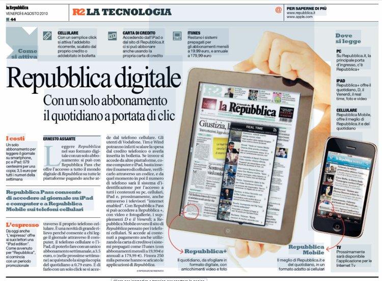 L'articolo con cui Repubblica ha presentato la propria versione digitale