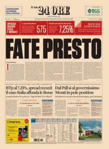Una recente prima pagina de Il Sole 24 ORE, il quinto tra i quotidiani più venduti in Italia