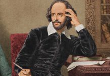 William Shakespeare al suo tavolo di lavoro, mentre cerca l'ispirazione per una delle sue memorabili frasi