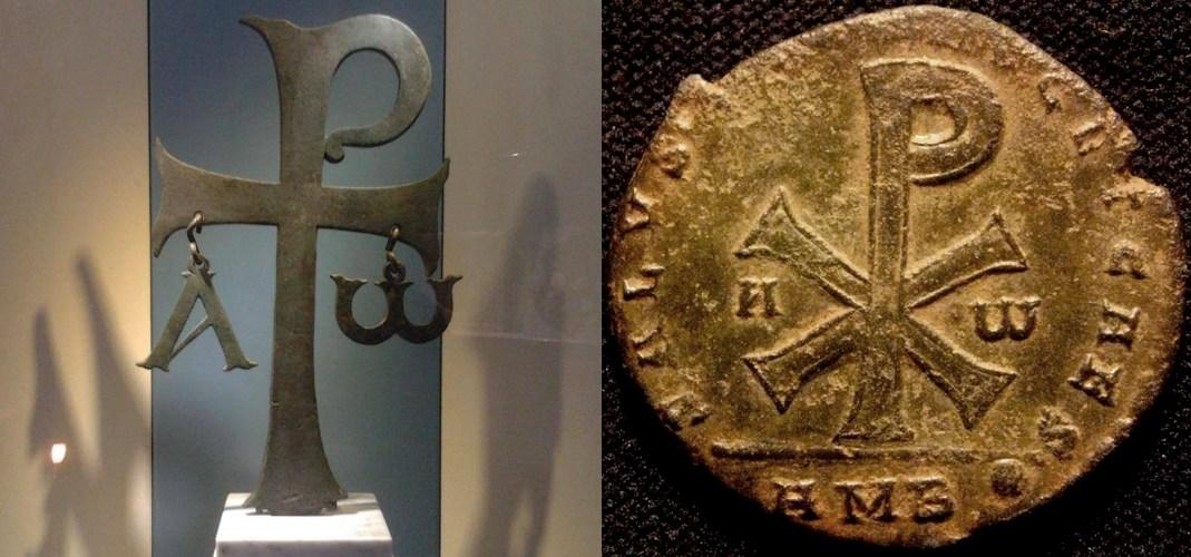 Lo staurogramma, a sinistra, e il monogramma di Cristo, a destra