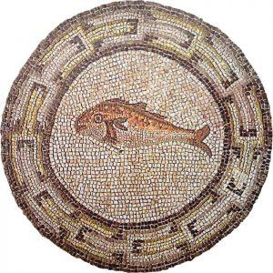 Un pesce (simbolo cristiano) in un mosaico antico