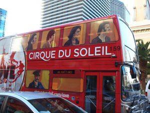 La pubblicità dello spettacolo che il Cirque du Soleil tiene al Mirage