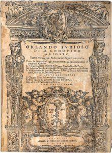 Il frontespizio dell'Orlando Furioso, famoso romanzo cavalleresco di Ludovico Ariosto