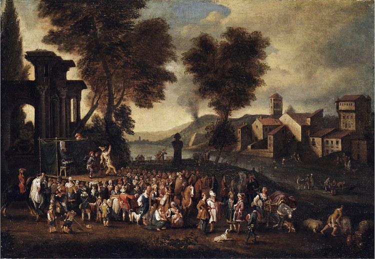 """Il quadro """"Commedia dell'arte"""" di Peeter van Bredael, che ben rappresenta l'attività dei giullari che usavano il grammelot"""