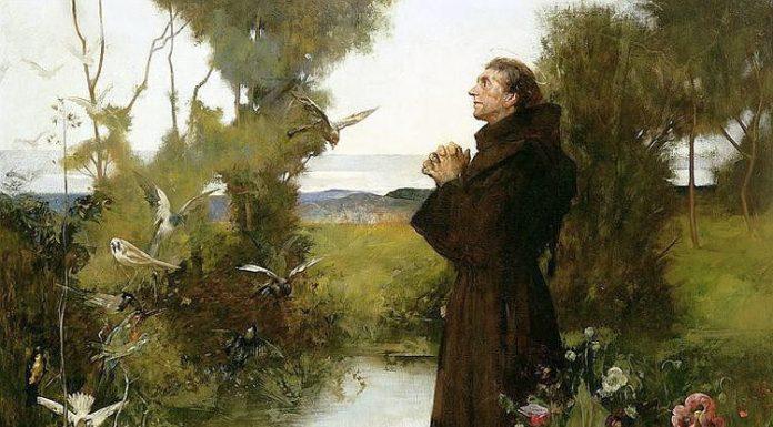 San Francesco e gli animali in quadro di fine Ottocento di Albert Chevallier Tayler
