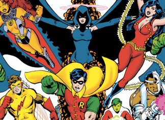 I personaggi dei Teen Titans nella copertina del primo numero della loro serie degli anni '80