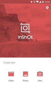 La schermata iniziale dell'app InShot