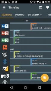La schermata coi principali canali nazionali di Super Guida TV Gratis