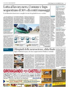 Una pagina della cronaca di Brescia del Corriere della Sera