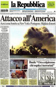 La prima pagina di Repubblica subito dopo gli attentati dell'11 settembre 2001