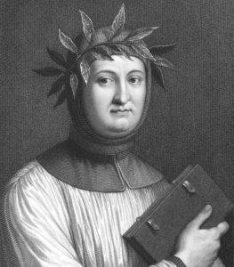 Petrarca con l'alloro poetico