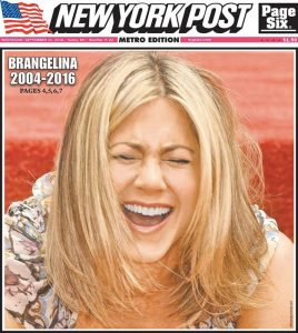 La copertina del New York Post nel giorno in cui si è saputo del divorzio tra Brad Pitt e Angelina Jolie