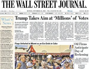 Una recente prima pagina del Wall Street Journal, il quotidiano di New York più venduto