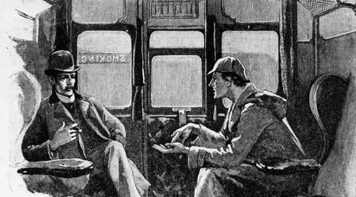 Sherlock Holmes e Watson discutono delle loro avventure in un'illustrazione d'epoca