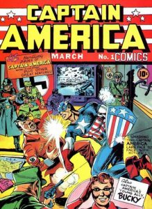 La copertina del primo albo di Capitan America, risalente al 1939