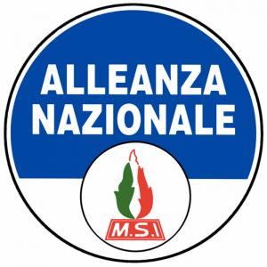 Lo stemma di Alleanza Nazionale, partito di destra nato come evoluzione dell'MSI
