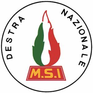Lo stemma dell'MSI, storico partito di destra della Prima Repubblica