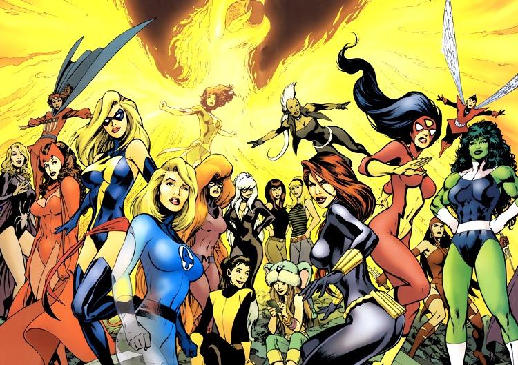 Le più famose ed importanti supereroine della Marvel, qui in un disegno di Alan Davis