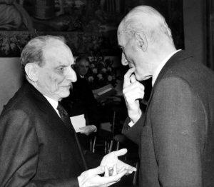 Norberto Bobbio con Indro Montanelli nel 1990
