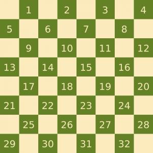 I numeri usati per la notazione delle caselle nella dama inglese
