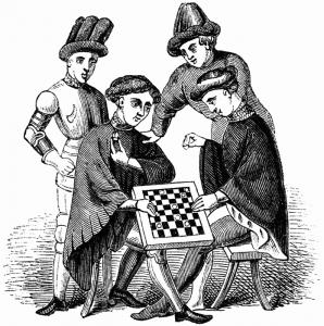 Un disegno inglese dell'Ottocento relativo però alla diffusione del gioco della dama nel Medioevo