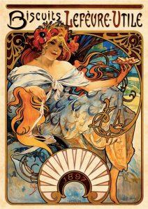 La pubblicità Biscuits LeFèvre-Utile, realizzata da Mucha nel 1896