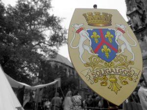 Uno stemma durante un festival medievale francese (foto di Num via Flickr)