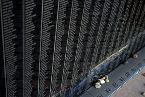 Il muro delle vittime al Museo dell'Olocausto di Budapest (foto di Takkk via Wikimedia Commons)