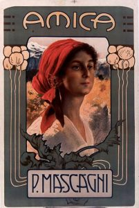 Il manifesto originale di Amica, opera di Pietro Mascagni