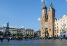 La piazza del mercato di Cracovia