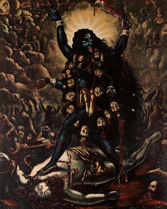 Una rappresentazione ottocentesca di Kali, terribile dea induista