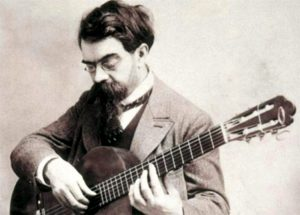 Francisco Tárrega con la sua chitarra