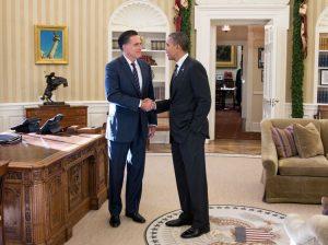Mitt Romney con Barack Obama alla Casa Bianca