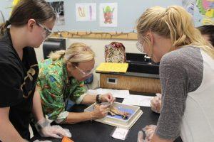 Una professoressa durante un esperimento