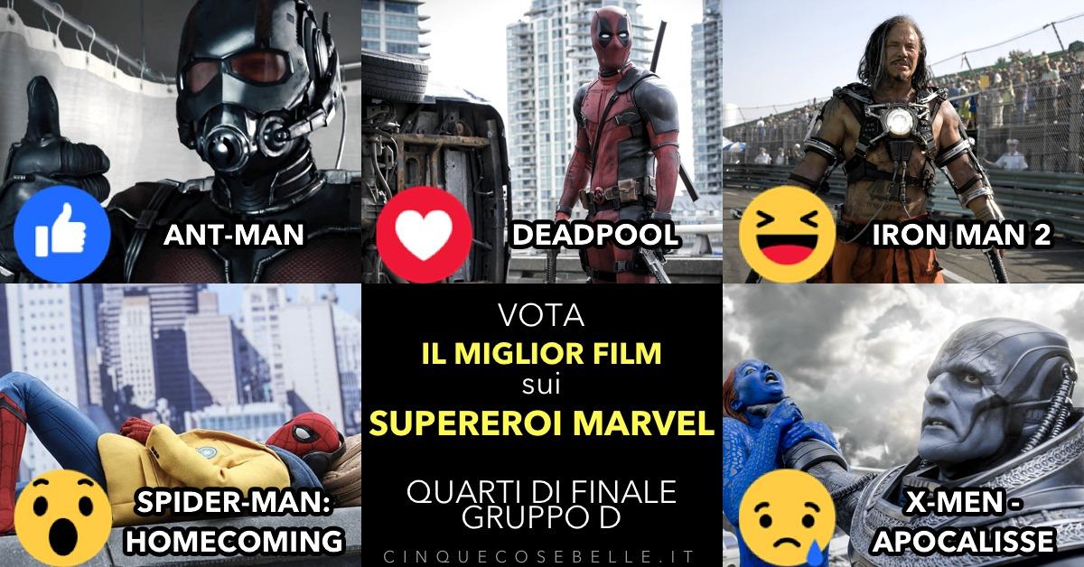 Il gruppo D dei quarti di finale sui migliori film sui supereroi Marvel