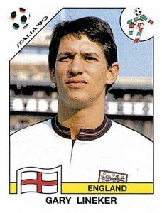 Gary Lineker – autore di una delle più celebri frasi sul calcio – nella figurina dei Mondiali del '90