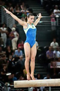 Jade Barbosa, ginnasta brasiliana, prima di un esercizio