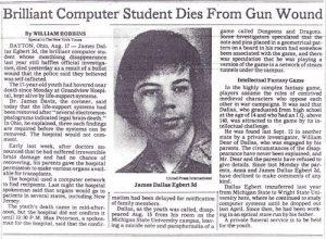 L'articolo sulla morte di James Dallas Egbert III