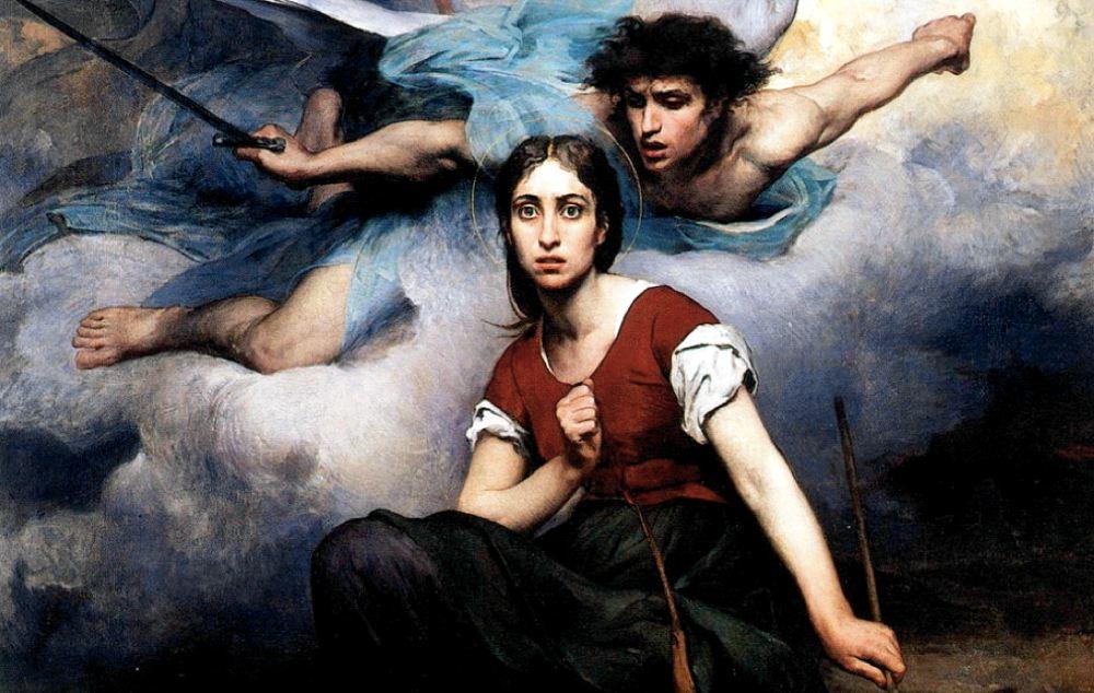 Particolare di Giovanna d'Arco sente le voci, dipinto di Eugène Romain Thirion