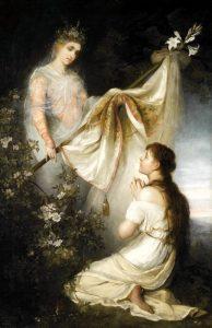 Giovanna d'Arco inginocchiata davanti a un angelo, quadro ottocentesco di Henryk Siemiradzki