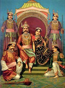 Draupadī e i suoi cinque mariti