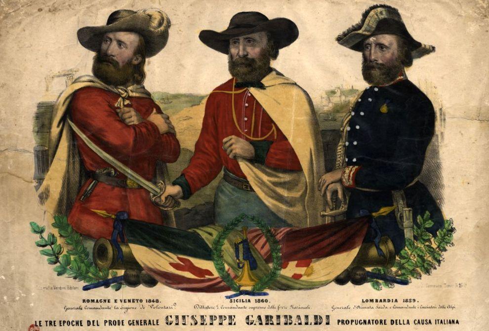 Garibaldi lungo gli anni, con la camicia rossa e senza