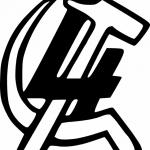 Il simbolo della Quarta Internazionale di Trockij, con falce e martello invertiti