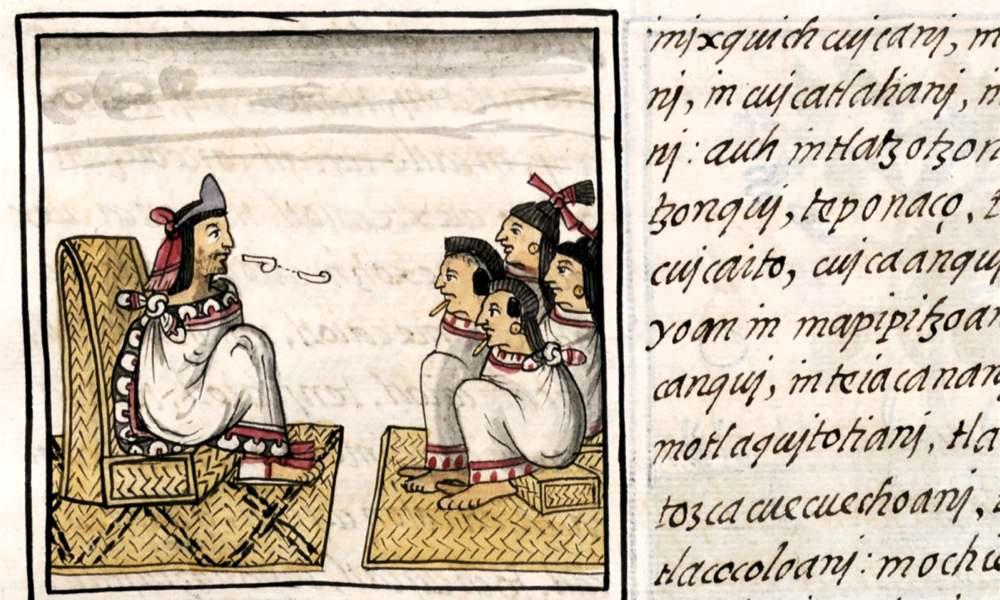 Particolare del Codice Fiorentino che mostra il sistema educativo degli aztechi