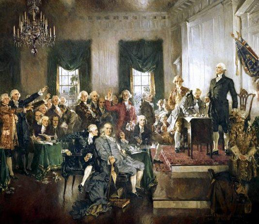 Vivere negli USA: la firma della Costituzione degli Stati Uniti in un dipinto del 1940 di Howard Chandler Christy